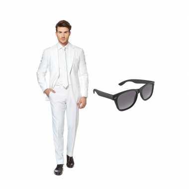 Verkleed wit net heren kostuum maat 50 (l) met gratis zonnebril