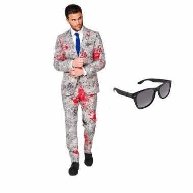 Verkleed zombie net heren kostuum maat 46 (s) met gratis zonnebril