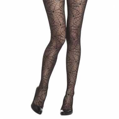 Verkleed zwarte damespanty met spinnenwebben