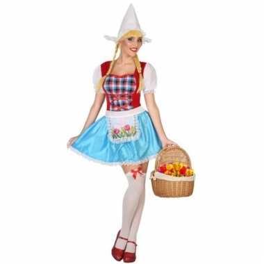 Verkleedkleding kaasmeisje kostuum in rood wit en blauw