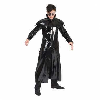 Verkleedkostuum zwarte horror jas glimmend voor volwassenen