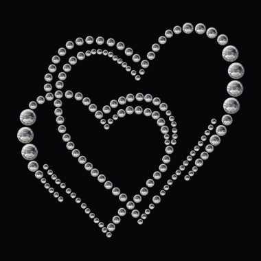 Versier stickers strass steentjes dubbel hart