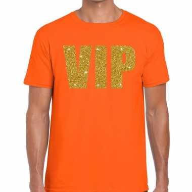 Vip tekst t-shirt oranje heren