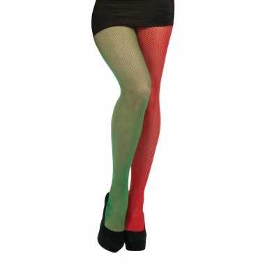 Visnet panty rood en groen one size
