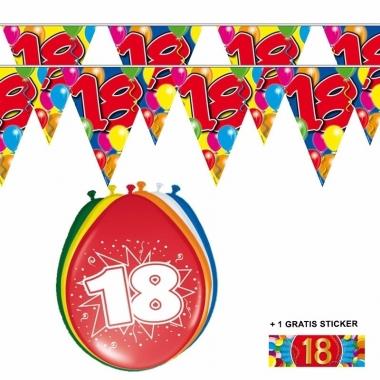 Voordeelverpakking 18 jaar met 2 slingers en ballonnen