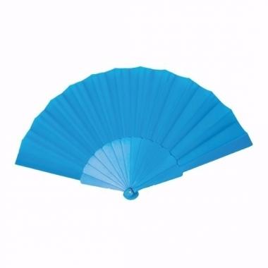 Voordelige waaier turquoise 23 cm