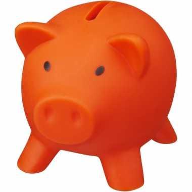 Vrijmarkt spaarpotje oranje varkentje 9 cm
