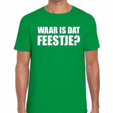 Waar is dat feestje heren t-shirt groen