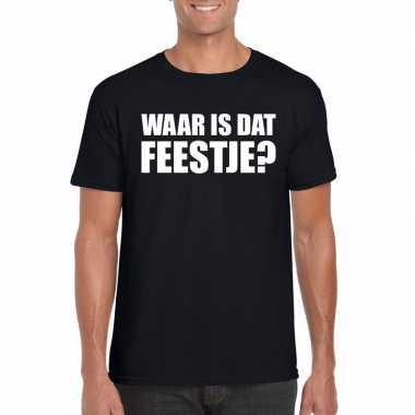 Waar is dat feestje heren t-shirt zwart