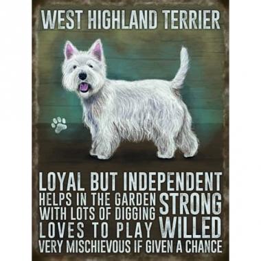 Wand bord west higland terrier 30 x 40 cm