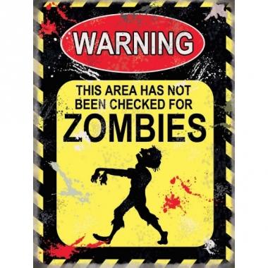 Wand waarschuwingsbord zombies 15 x 20 cm