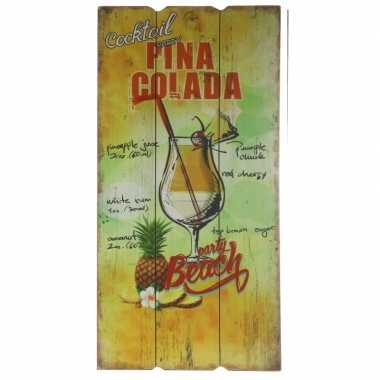 Wanddecoratie bordje pina colada cocktail
