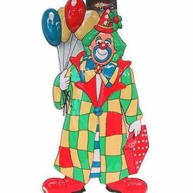Wanddecoratie clown met ballonnen