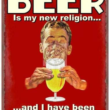 Wandplaat bier & nieuwe religie