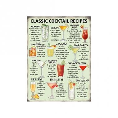 Wandplaat classic cocktail recipes
