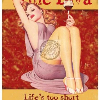 Wandplaatje dames wine diva