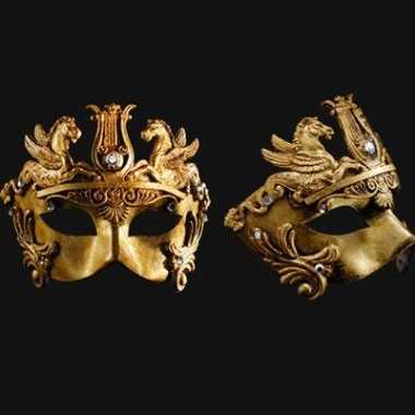Wandversiering gouden oogmasker