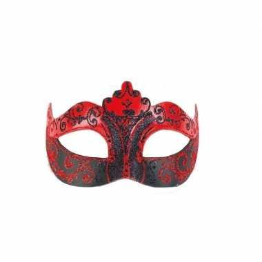 Wandversiering italiaans oogmasker rood en zwart