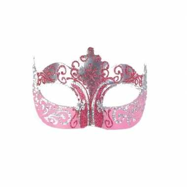 Wandversiering italiaans oogmasker roze en goud