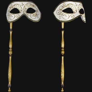 Wandversiering italiaans oogmasker wit op stok