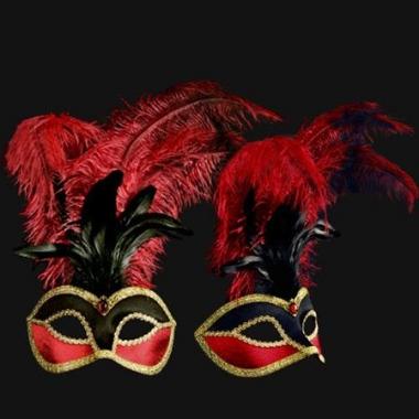 Wandversiering italiaans veren oogmasker met fluweel rood/zwart
