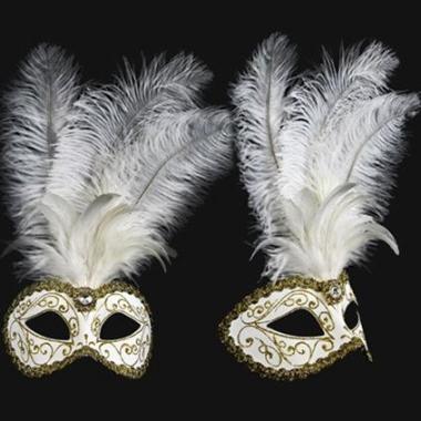 Wandversiering italiaans veren oogmasker wit