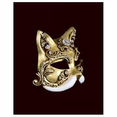 Wandversiering kat barok masker wit