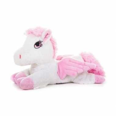 Warm knuffel wit paard met vleugels babyshower kado 18 cm
