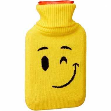 Warm water kruik 1 liter geel met knipoog emoticon