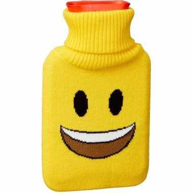 Warm water kruik 1 liter geel met lachende emoticon