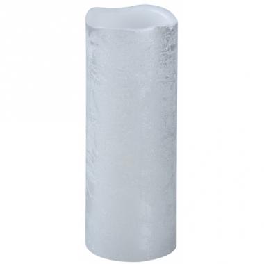 Warm witte led kaars zilver 20 cm
