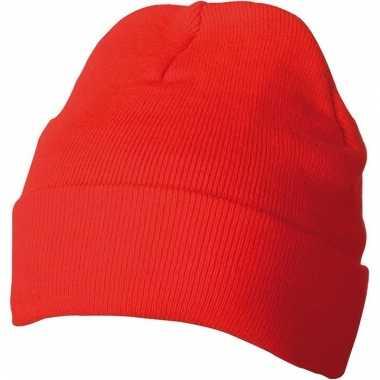 Warme basic winter mutsen rood voor dames