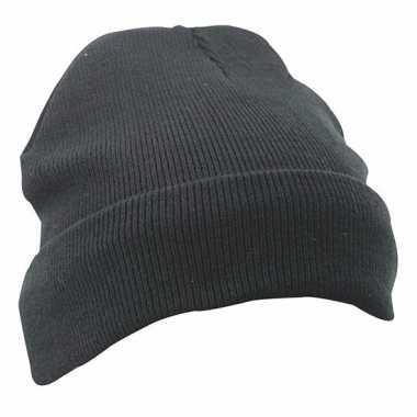 Warme basic winter mutsen zwart voor dames