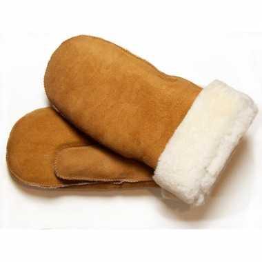 Warme bruine wanten met schapenvacht/wol voering voor dames/heren