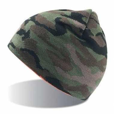 Warme camouflagemuts legergroen voor dames/heren