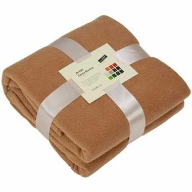 Warme fleece dekens/plaids camel 130 x 170 cm 240 grams kwaliteit
