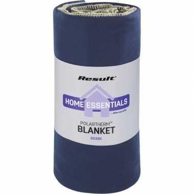 Warme fleece dekens/plaids donker blauw 140 x 175 cm 300 grams kwalit