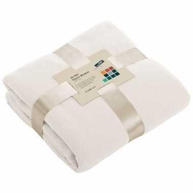 Warme fleece dekens/plaids gebroken wit 130 x 170 cm 240 grams kwalit