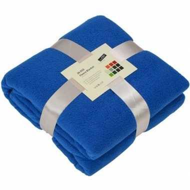 Warme fleece dekens/plaids kobaltblauw 130 x 170 cm 240 grams kwalite
