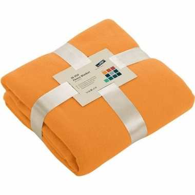 Warme fleece dekens/plaids oranje 130 x 170 cm 240 grams kwaliteit