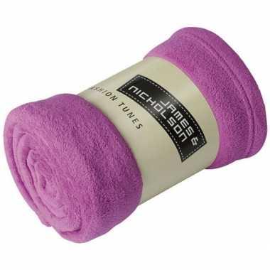 Warme fleece dekens/plaids paars 120 x 160 cm 200 grams kwaliteit