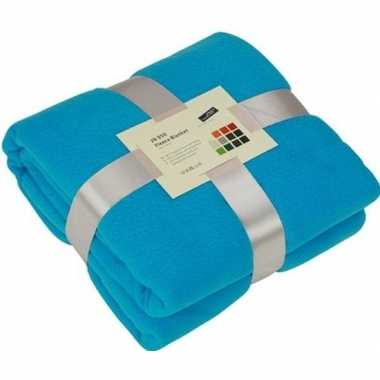 Warme fleece dekens/plaids turkoois/turquoise 130 x 170 cm 240 grams