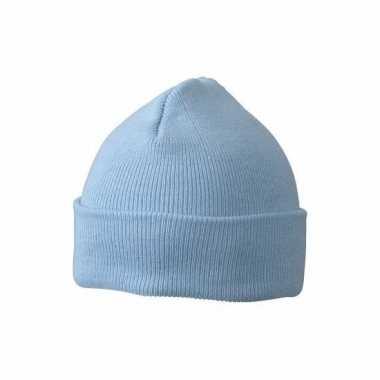 Warme mutsen babyblauw voor kinderen