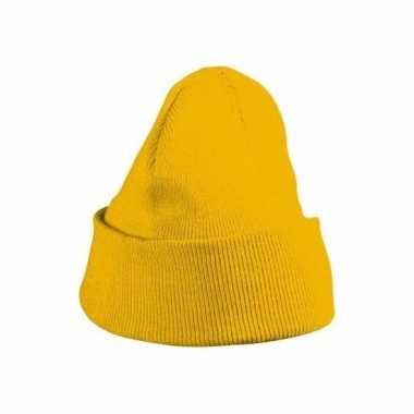 Warme mutsen geel voor kinderen