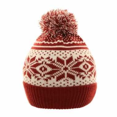 Warme schaatsmuts met pompon rood/wit voor jongens en meisjes