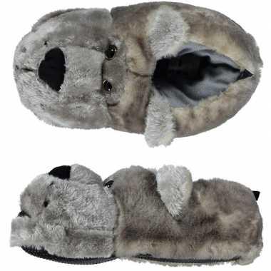 Warme sloffen/pantoffels berenkop voor dames