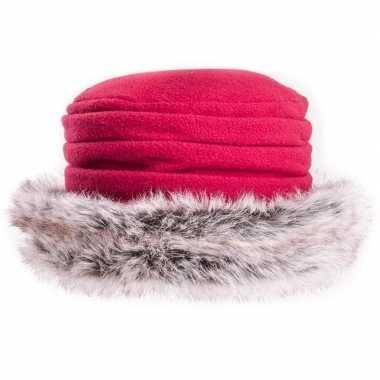 Warme winter hoed van fleece met namaakbont voor dames