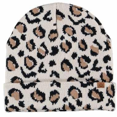 Warme wintermuts met beige luipaard print voor kinderen
