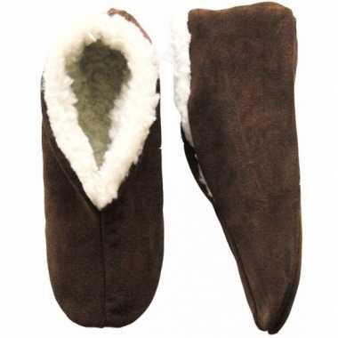 Warme wollen bruine spaanse sloffen/pantoffels voor dames/heren/volwa
