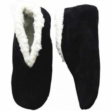 Warme wollen zwarte spaanse sloffen/pantoffels voor dames/heren/volwa